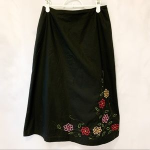 Black Skirt with Sweet Floral Embroidery
